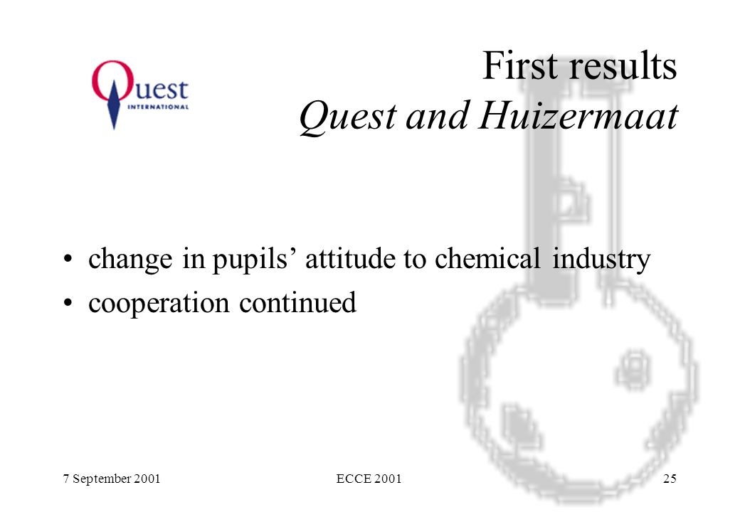 7 September 2001ECCE 200125 First results Quest and Huizermaat change in pupils' attitude to chemical industry cooperation continued