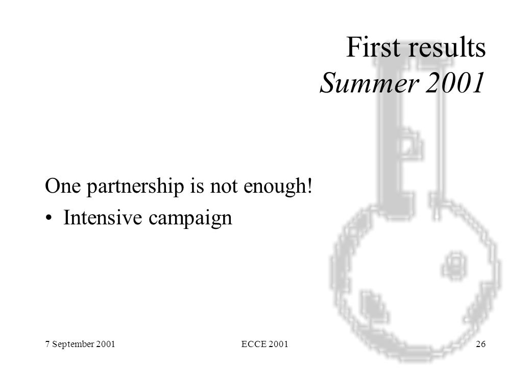 7 September 2001ECCE 200126 First results Summer 2001 One partnership is not enough.