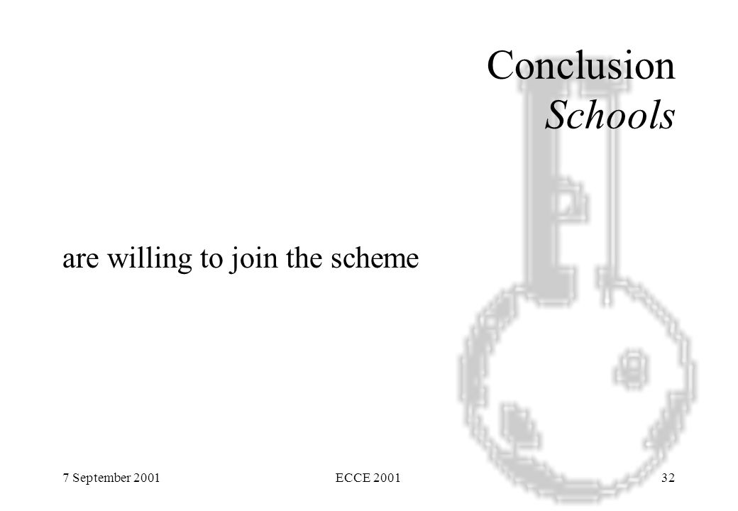 7 September 2001ECCE 200132 Conclusion Schools are willing to join the scheme