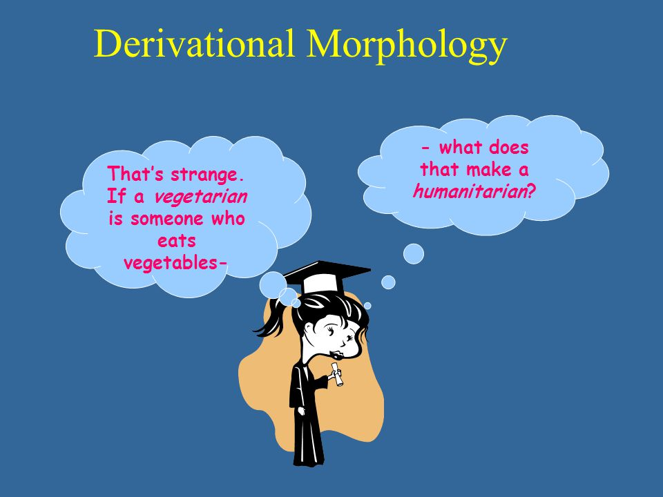 Derivational Morphology That's strange. If a vegetarian is someone who eats vegetables- - what does that make a humanitarian?