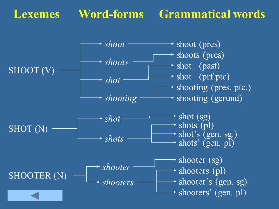 Lexemes Word-forms Grammatical words SHOOTER (N) SHOOT (V) SHOT (N) shoot shooting shot shoots shooting (gerund) shooting (pres. ptc.) shot (prf.ptc)