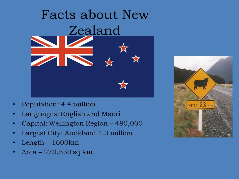 Facts about New Zealand Population: 4.4 million Languages: English and Maori Capital: Wellington Region – 480,000 Largest City: Auckland 1.3 million L