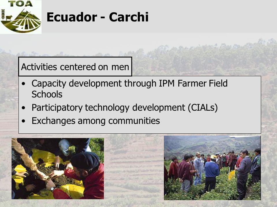 Capacity development through IPM Farmer Field Schools Participatory technology development (CIALs) Exchanges among communities Activities centered on men