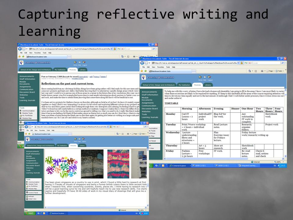 Capturing reflective writing and learning