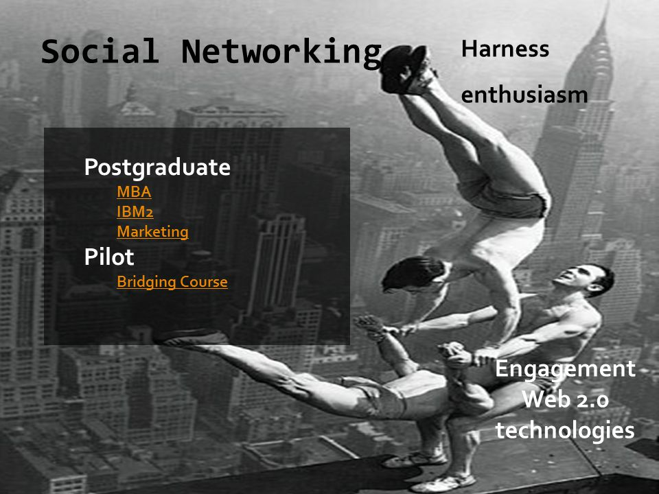 Social Networking Postgraduate MBA IBM2 Marketing Pilot Bridging Course Harness enthusiasm Engagement Web 2.0 technologies