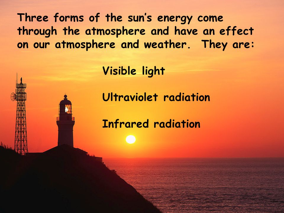 Energy comes to us from the sun in the form of electromagnetic waves.