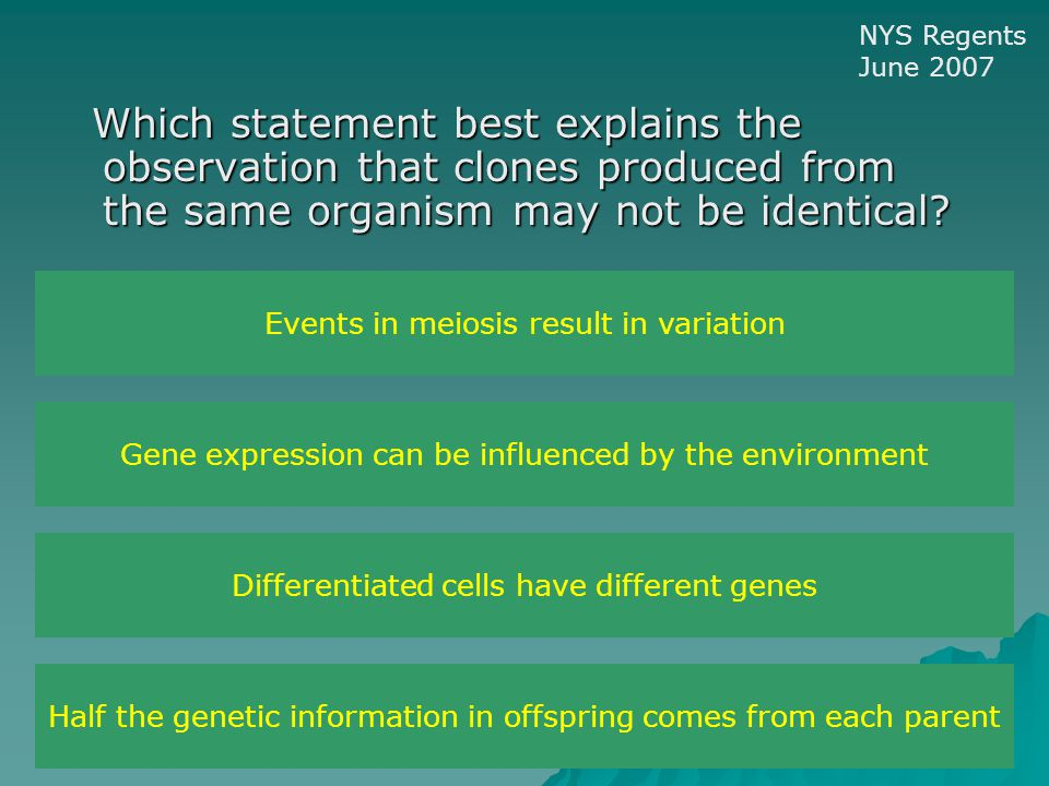 Which statement best explains the observation that clones produced from the same organism may not be identical.