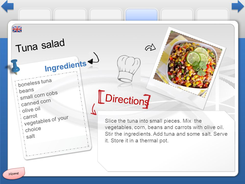 Directions Ingredients Tuna salad Slice the tuna into small pieces.