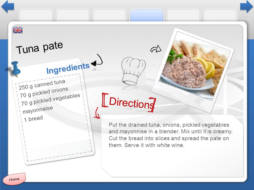 Directions Ingredients Tuna pate Put the drained tuna, onions, pickled vegetables and mayonnise in a blender.