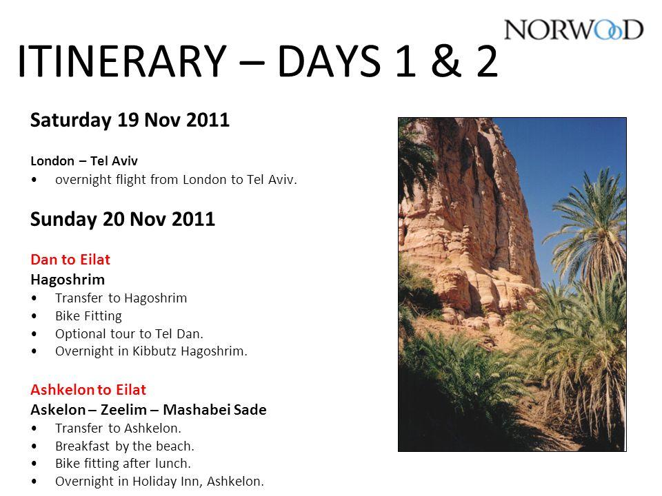 ITINERARY – DAYS 1 & 2 Saturday 19 Nov 2011 London – Tel Aviv overnight flight from London to Tel Aviv.
