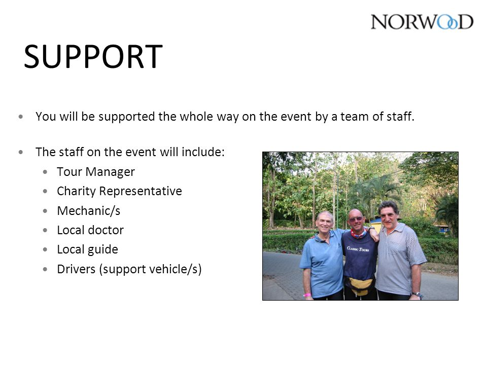 SUPPORT You will be supported the whole way on the event by a team of staff.