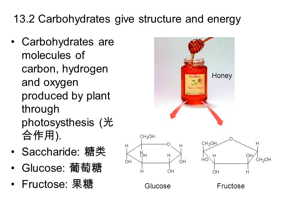 13.2 Carbohydrates give structure and energy Carbohydrates are molecules of carbon, hydrogen and oxygen produced by plant through photosysthesis ( 光 合作用 ).