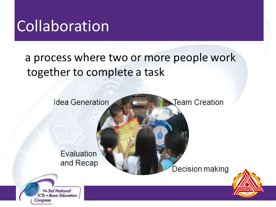 Collaboration a process where two or more people work together to complete a task Team CreationIdea Generation Decision making Evaluation and Recap