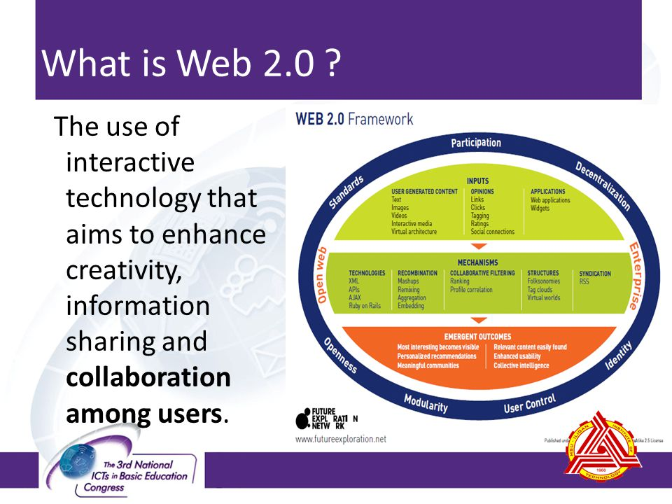 In a Web 2.0 environment, users can work together and share responsibilities collaborate with peers, experts and community members monitor and keep track contributions use varied kinds of technology to conduct research, communicate and create knowledge