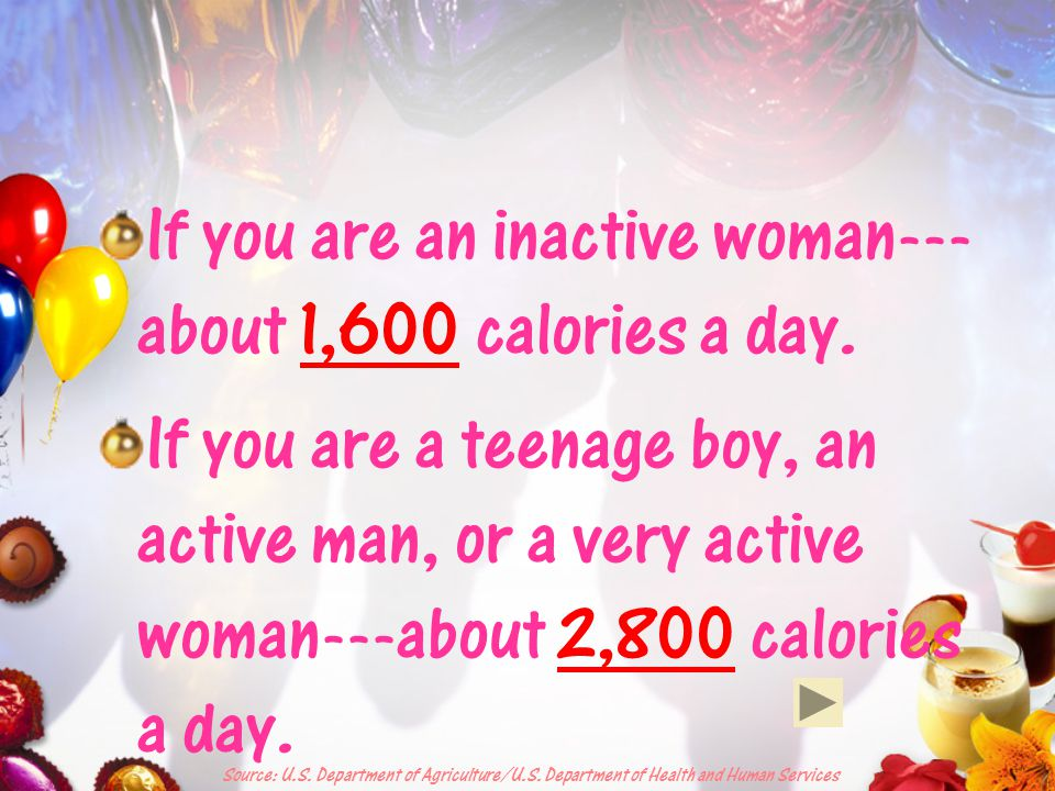 How many calories do you get Do you know how many calories you need in a day