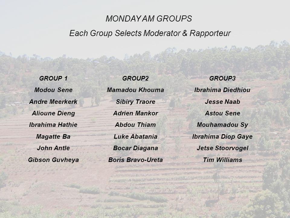 MONDAY AM GROUPS Each Group Selects Moderator & Rapporteur GROUP 1 Modou Sene Andre Meerkerk Alioune Dieng Ibrahima Hathie Magatte Ba John Antle Gibso