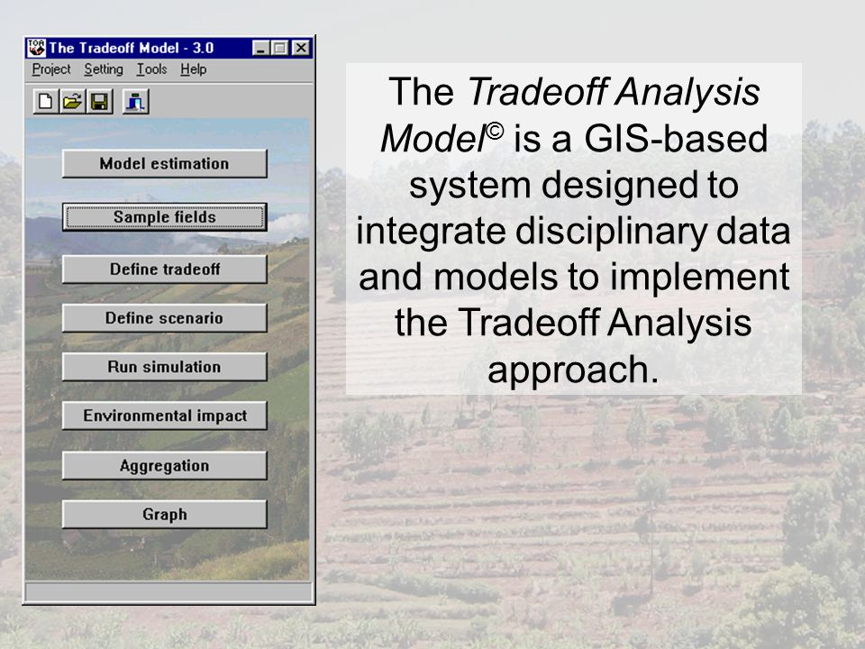 The Tradeoff Analysis Model © is a GIS-based system designed to integrate disciplinary data and models to implement the Tradeoff Analysis approach.