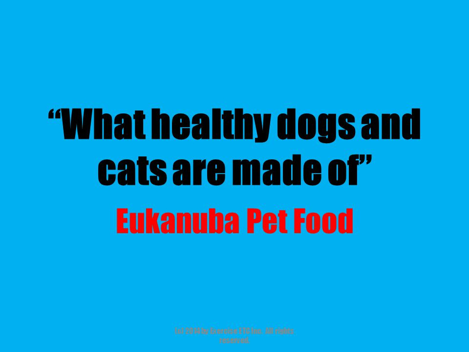 """""""What healthy dogs and cats are made of"""" Eukanuba Pet Food (c) 2014 by Exercise ETC Inc. All rights reserved."""