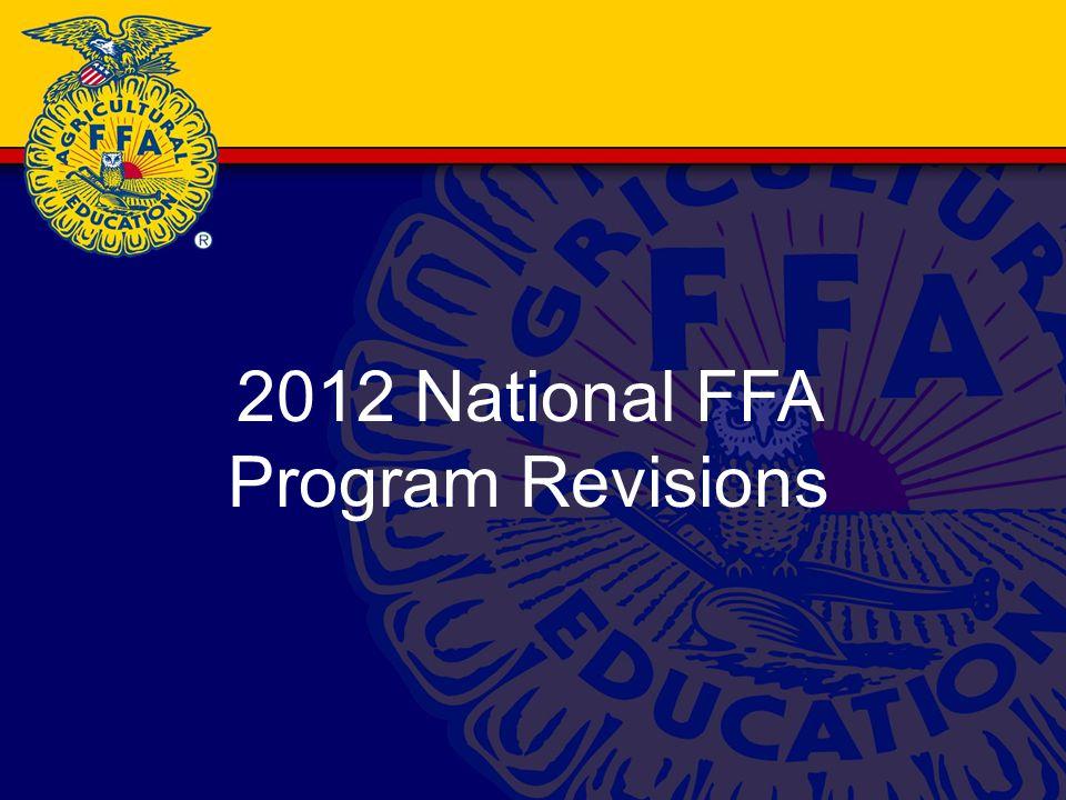 2012 National FFA Program Revisions