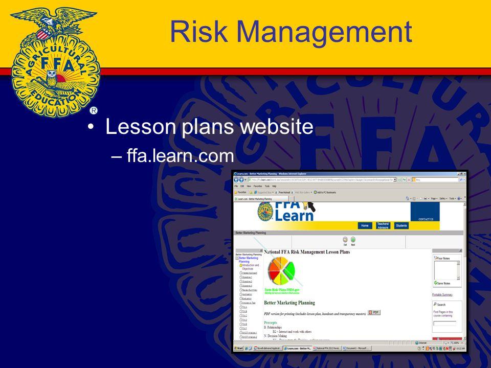 Risk Management Lesson plans website –ffa.learn.com