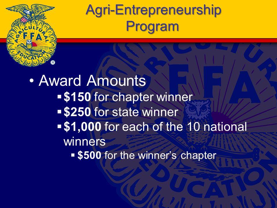 Agri-Entrepreneurship Program Award Amounts  $150 for chapter winner  $250 for state winner  $1,000 for each of the 10 national winners  $500 for the winner's chapter