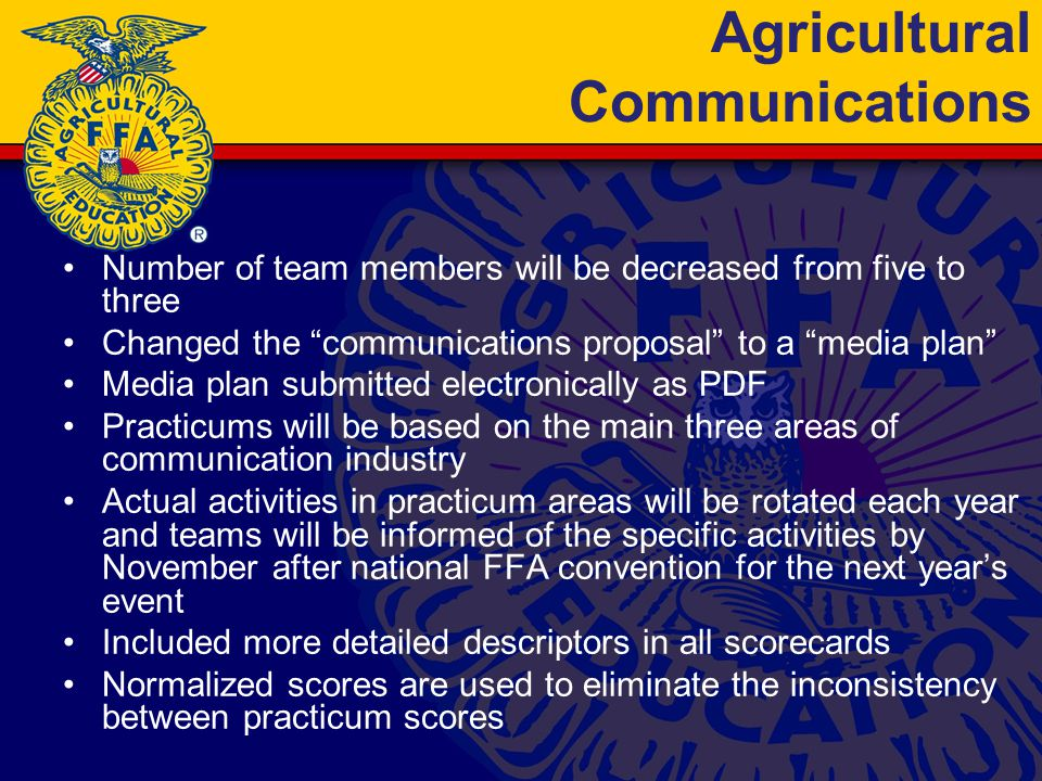 Agricultural Communications Number of team members will be decreased from five to three Changed the communications proposal to a media plan Media plan submitted electronically as PDF Practicums will be based on the main three areas of communication industry Actual activities in practicum areas will be rotated each year and teams will be informed of the specific activities by November after national FFA convention for the next year's event Included more detailed descriptors in all scorecards Normalized scores are used to eliminate the inconsistency between practicum scores
