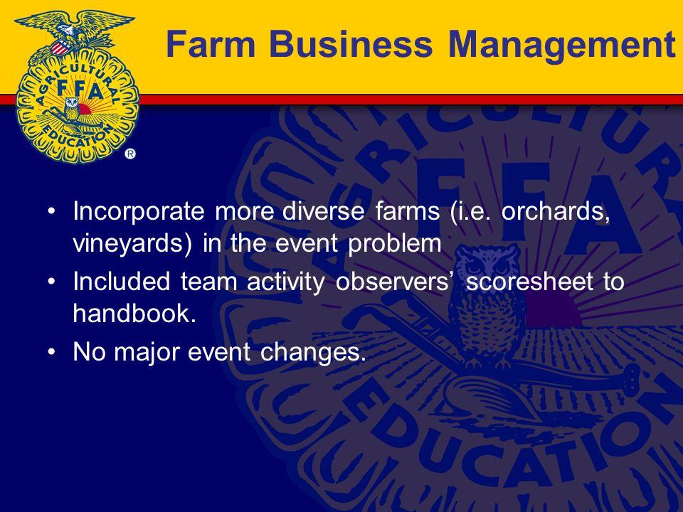 Farm Business Management Incorporate more diverse farms (i.e.