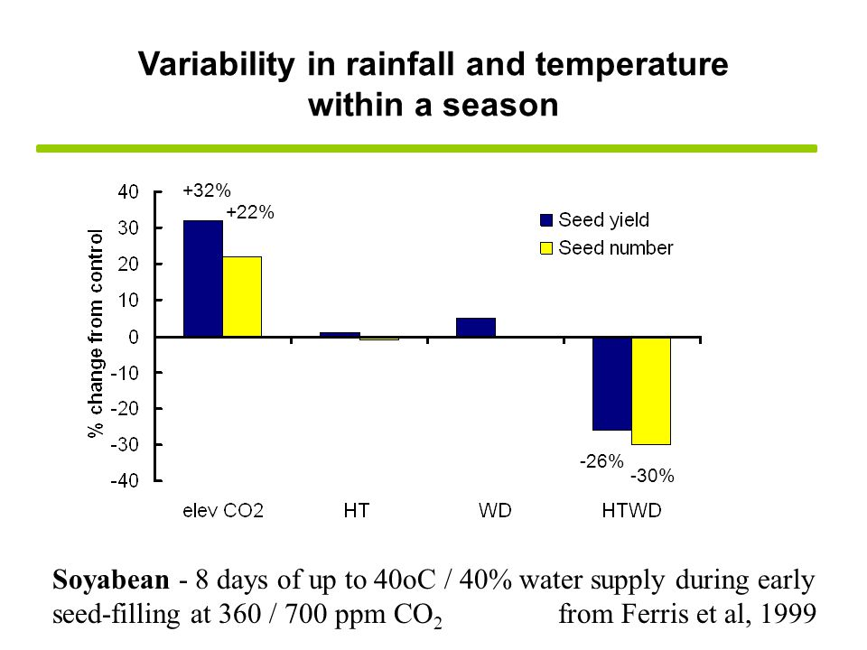 Soyabean - 8 days of up to 40oC / 40% water supply during early seed-filling at 360 / 700 ppm CO 2 from Ferris et al, 1999 Variability in rainfall and temperature within a season -30% +22% -26% +32%