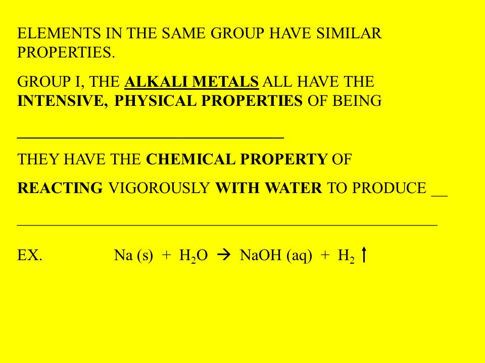 ELEMENTS IN THE SAME GROUP HAVE SIMILAR PROPERTIES.
