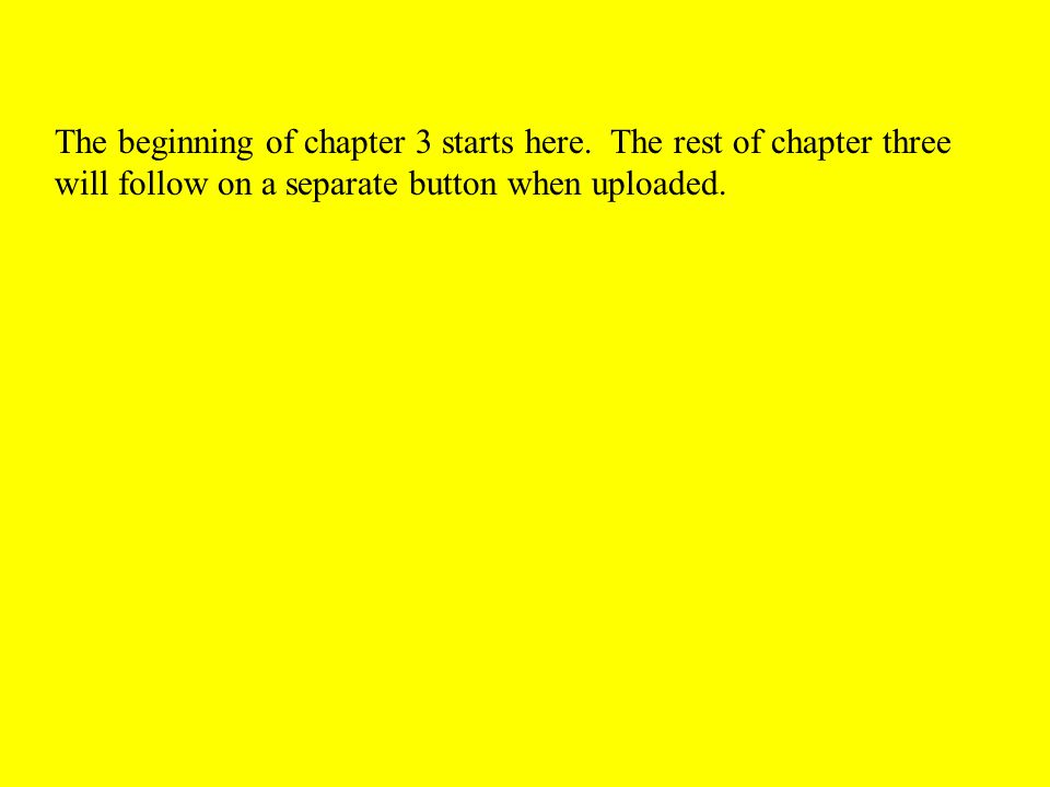 The beginning of chapter 3 starts here. The rest of chapter three will follow on a separate button when uploaded.
