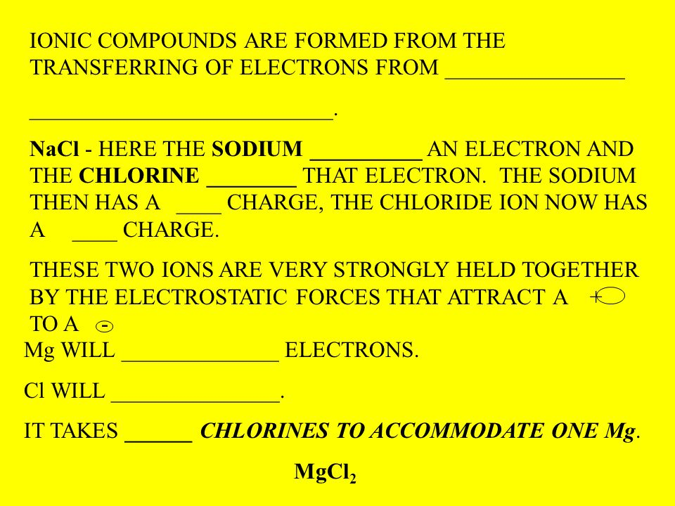IONIC COMPOUNDS ARE FORMED FROM THE TRANSFERRING OF ELECTRONS FROM ________________ ___________________________.