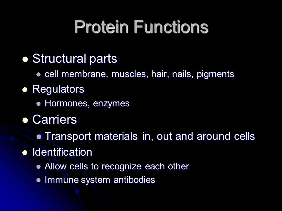 Protein Functions Structural parts Structural parts cell membrane, muscles, hair, nails, pigments cell membrane, muscles, hair, nails, pigments Regulators Regulators Hormones, enzymes Hormones, enzymes Carriers Carriers Transport materials in, out and around cells Transport materials in, out and around cells Identification Identification Allow cells to recognize each other Allow cells to recognize each other Immune system antibodies Immune system antibodies