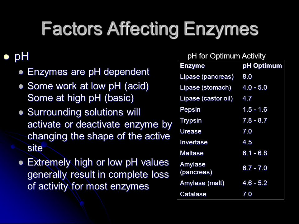 Factors Affecting Enzymes pH pH Enzymes are pH dependent Enzymes are pH dependent Some work at low pH (acid) Some at high pH (basic) Some work at low