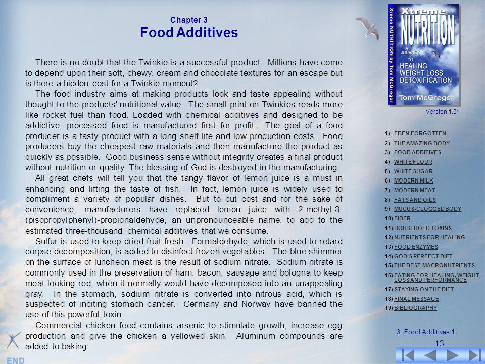 1)EDEN FORGOTTENEDEN FORGOTTEN 2)THE AMAZING BODYTHE AMAZING BODY 3)FOOD ADDITIVESFOOD ADDITIVES 4)WHITE FLOURWHITE FLOUR 5)WHITE SUGARWHITE SUGAR 6)M