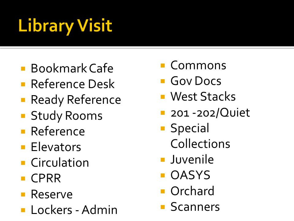  Bookmark Cafe  Reference Desk  Ready Reference  Study Rooms  Reference  Elevators  Circulation  CPRR  Reserve  Lockers - Admin  Commons  Gov Docs  West Stacks  201 -202/Quiet  Special Collections  Juvenile  OASYS  Orchard  Scanners