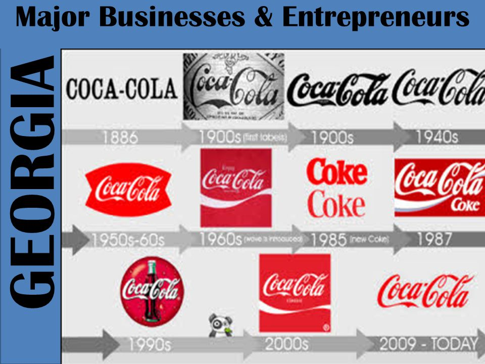 GEORGIA Major Businesses & Entrepreneurs In 1886, and it landed druggist named John Pemberton invented a new drink to cure headaches the drink effectively ease people's pain in large part because it contained cocaine in 1892 Asa Candler bought the rights to the drink for $2300 and begin marketing Coca-Cola as a regular drink rather than a medicine.