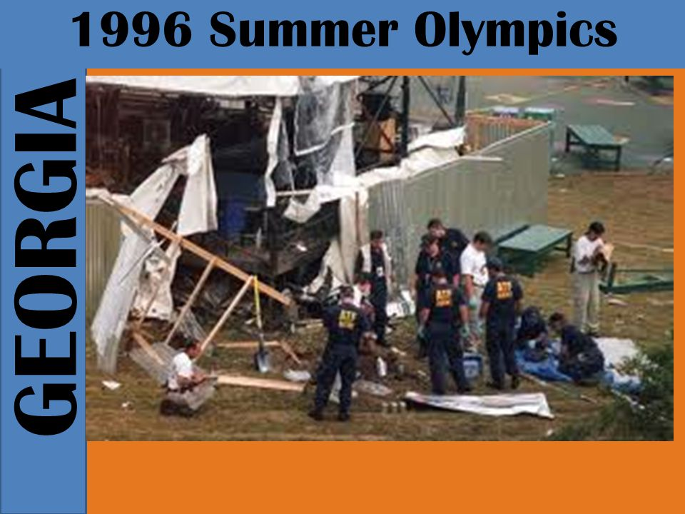 GEORGIA 1996 Summer Olympics The pleasant mood of the Olympics changed suddenly in the early morning of July 27, when a pipe bomb exploded in Centennial Olympic Park during a concert, causing two deaths and more than 100 injuries.