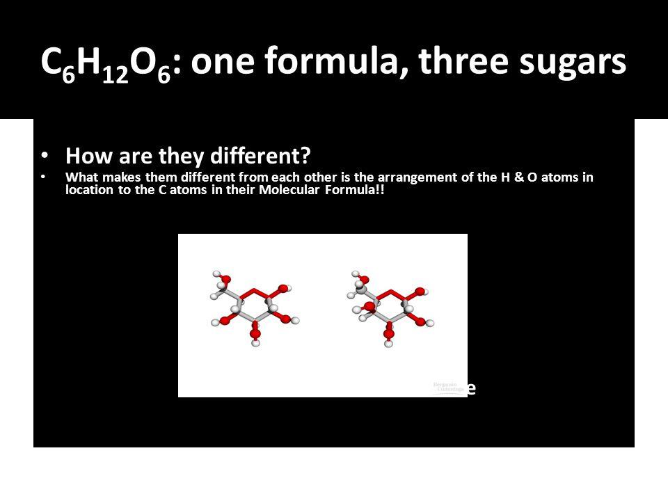 Molecular Formula for Glucose The molecular formula shows you the location of each atom in the molecule!!