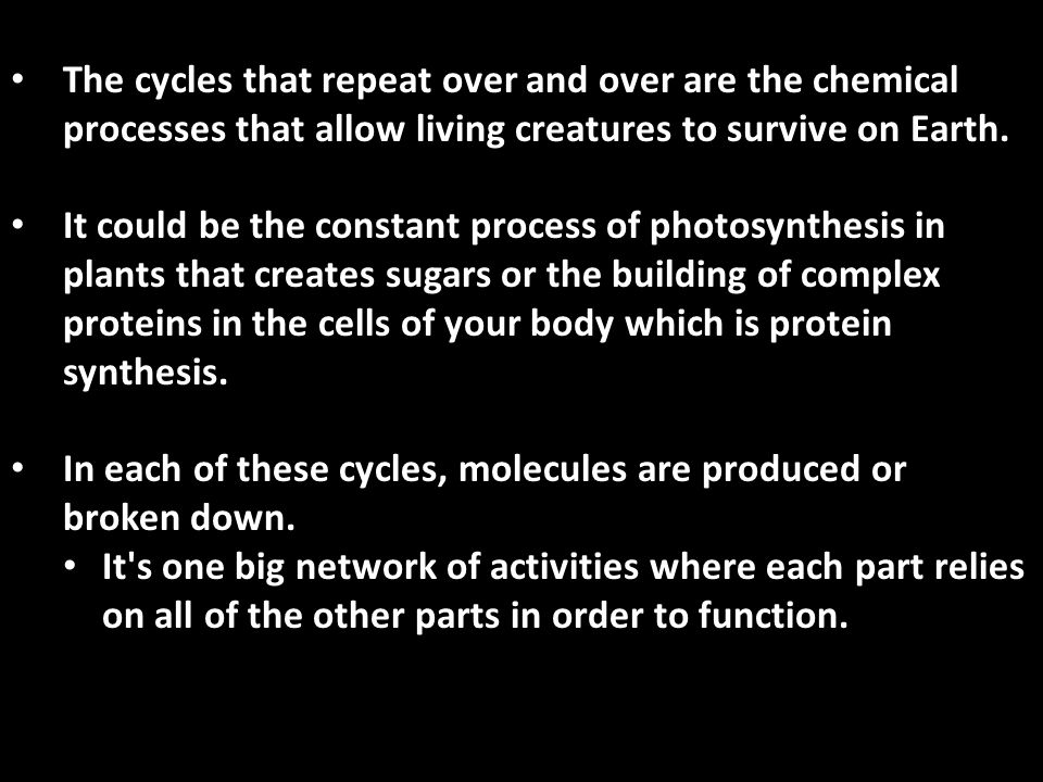 The Key to remember about BIOCHEMISTRY is: It is the Chemistry of the Living World! All organisms use the same basic chemical organic compounds to liv