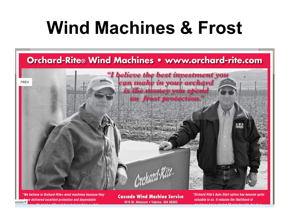 Winter Outlook Wind Machines & Frost