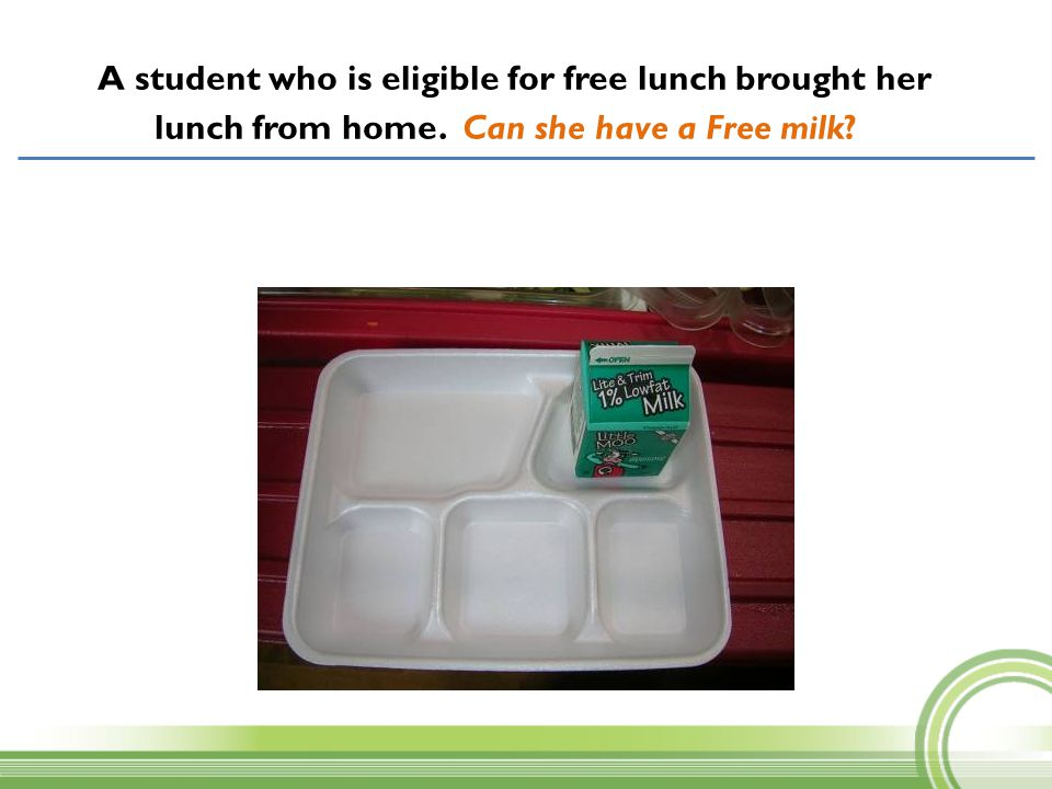 A student who is eligible for free lunch brought her lunch from home. Can she have a Free milk?