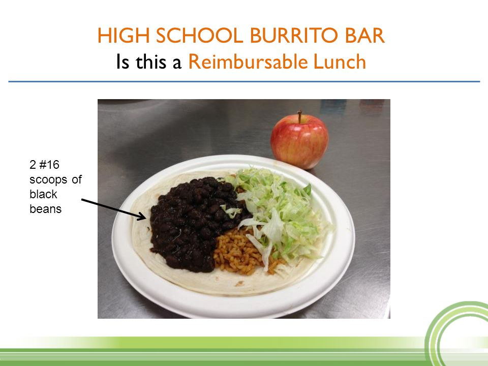 HIGH SCHOOL BURRITO BAR Is this a Reimbursable Lunch 2 #16 scoops of black beans