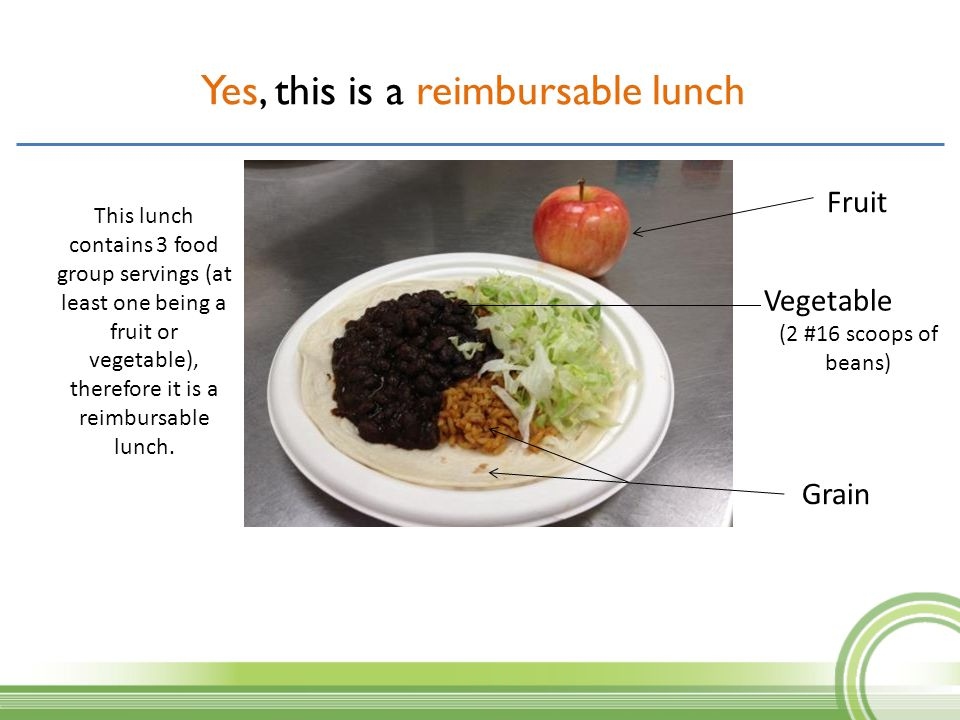 Yes, this is a reimbursable lunch? Fruit Grain Vegetable (2 #16 scoops of beans) This lunch contains 3 food group servings (at least one being a fruit