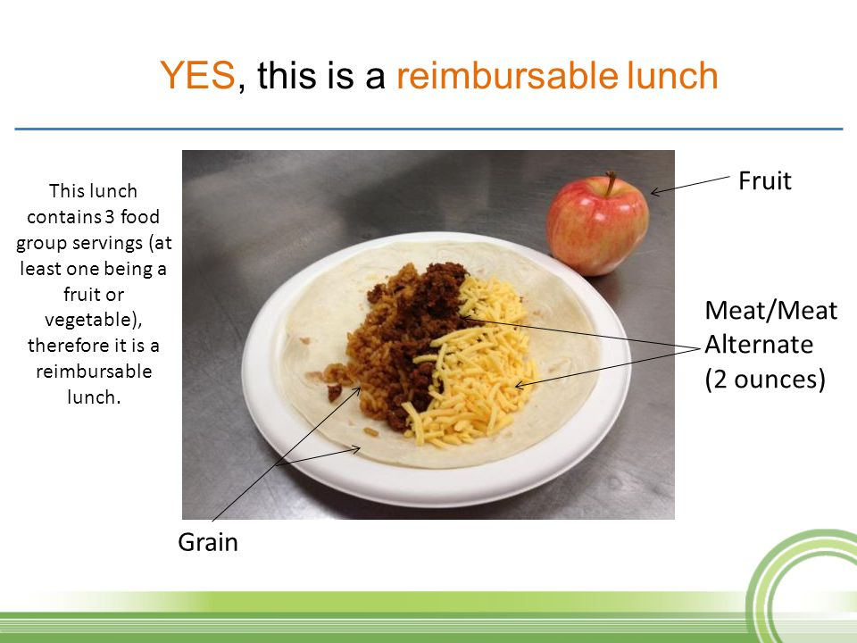 Fruit Meat/Meat Alternate (2 ounces) Grain This lunch contains 3 food group servings (at least one being a fruit or vegetable), therefore it is a reim