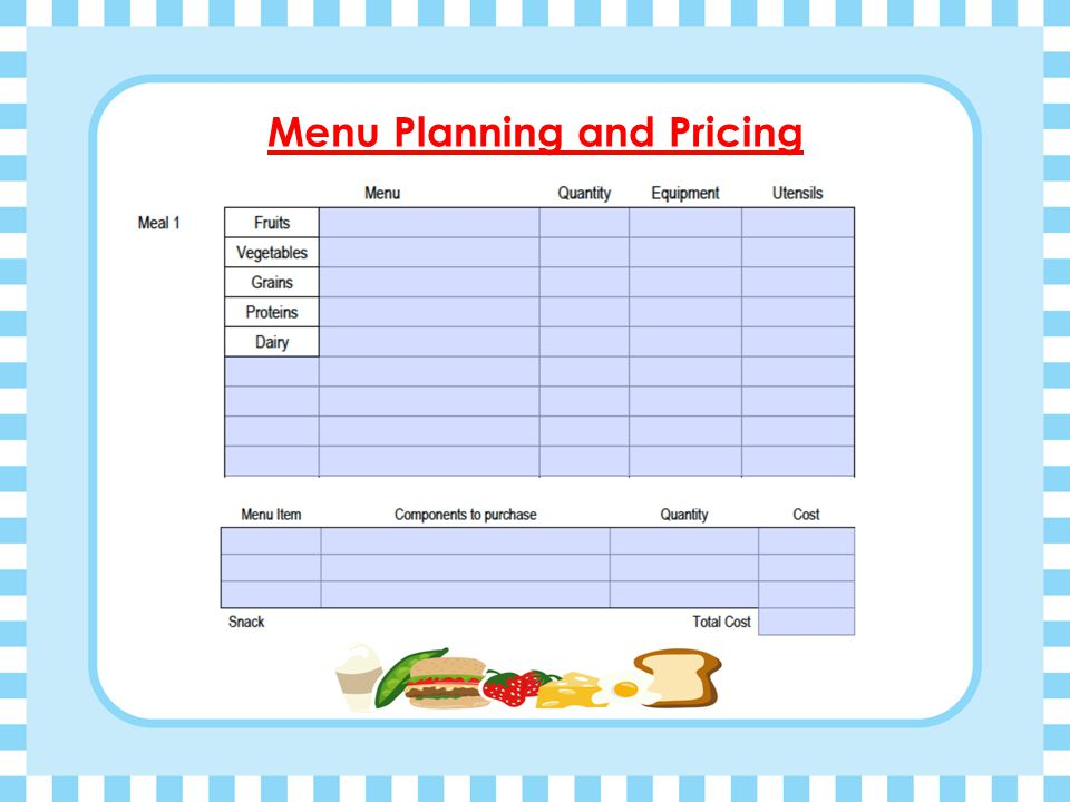 Meal Planning Trail Cooking  Preparation for Camp Cooking: Pack lightly – simple planning is most effective. Know the weight of your food. Plan for m