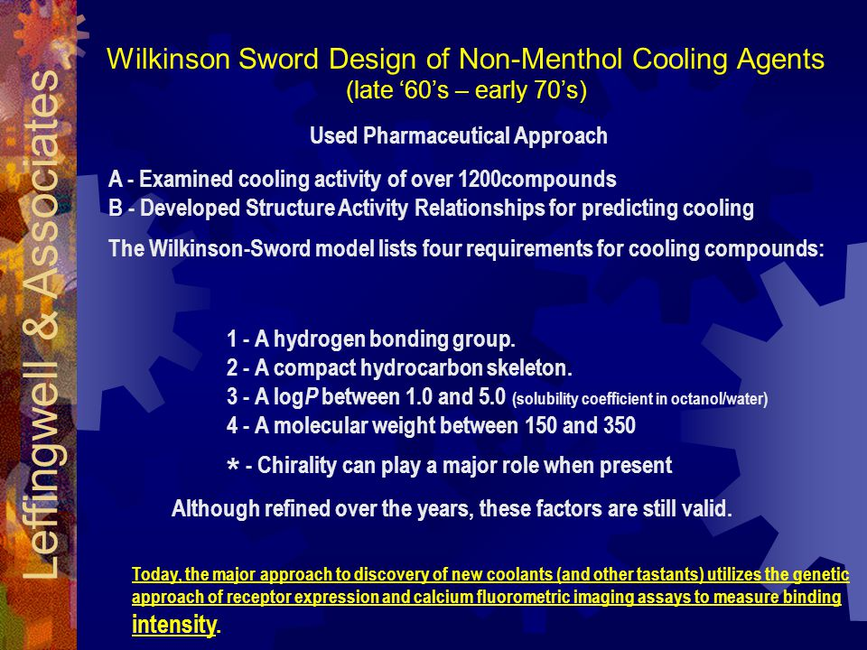 Wilkinson Sword Design of Non-Menthol Cooling Agents (late '60's – early 70's) Used Pharmaceutical Approach 1 - A hydrogen bonding group.