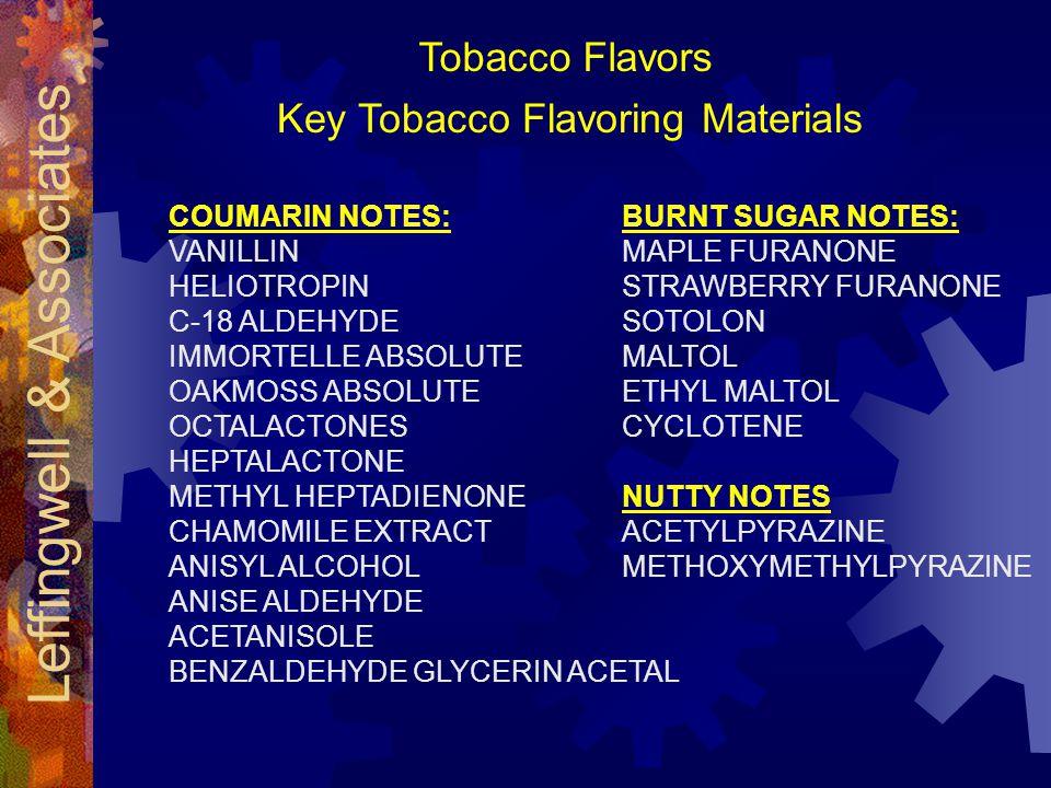 Leffingwell & Associates Key Tobacco Flavoring Materials COUMARIN NOTES: VANILLIN HELIOTROPIN C-18 ALDEHYDE IMMORTELLE ABSOLUTE OAKMOSS ABSOLUTE OCTALACTONES HEPTALACTONE METHYL HEPTADIENONE CHAMOMILE EXTRACT ANISYL ALCOHOL ANISE ALDEHYDE ACETANISOLE BENZALDEHYDE GLYCERIN ACETAL BURNT SUGAR NOTES: MAPLE FURANONE STRAWBERRY FURANONE SOTOLON MALTOL ETHYL MALTOL CYCLOTENE NUTTY NOTES ACETYLPYRAZINE METHOXYMETHYLPYRAZINE Tobacco Flavors
