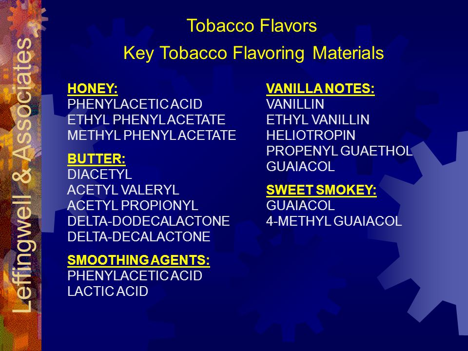 Leffingwell & Associates Key Tobacco Flavoring Materials HONEY: PHENYLACETIC ACID ETHYL PHENYL ACETATE METHYL PHENYL ACETATE BUTTER: DIACETYL ACETYL VALERYL ACETYL PROPIONYL DELTA-DODECALACTONE DELTA-DECALACTONE SMOOTHING AGENTS: PHENYLACETIC ACID LACTIC ACID VANILLA NOTES: VANILLIN ETHYL VANILLIN HELIOTROPIN PROPENYL GUAETHOL GUAIACOL SWEET SMOKEY: GUAIACOL 4-METHYL GUAIACOL Tobacco Flavors