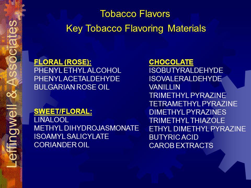Leffingwell & Associates Key Tobacco Flavoring Materials FLORAL (ROSE): PHENYL ETHYL ALCOHOL PHENYL ACETALDEHYDE BULGARIAN ROSE OIL SWEET/FLORAL: LINALOOL METHYL DIHYDROJASMONATE ISOAMYL SALICYLATE CORIANDER OIL CHOCOLATE ISOBUTYRALDEHYDE ISOVALERALDEHYDE VANILLIN TRIMETHYL PYRAZINE TETRAMETHYL PYRAZINE DIMETHYL PYRAZINES TRIMETHYL THIAZOLE ETHYL DIMETHYL PYRAZINE BUTYRIC ACID CAROB EXTRACTS Tobacco Flavors
