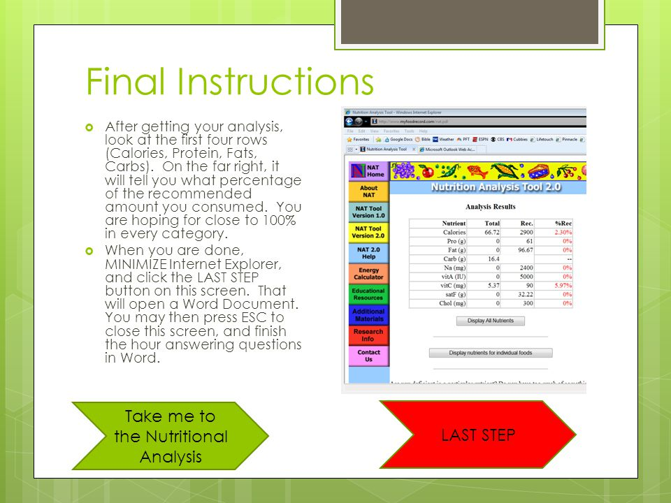 Final Instructions  After getting your analysis, look at the first four rows (Calories, Protein, Fats, Carbs).
